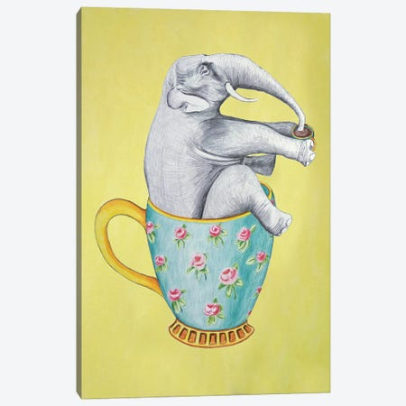 Elephant In Cup, Yellow Canvas Print #COC200} by Coco de Paris Canvas Artwork