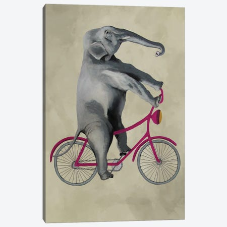Elephant On Bicycle, Beige Canvas Print #COC201} by Coco de paris Canvas Wall Art