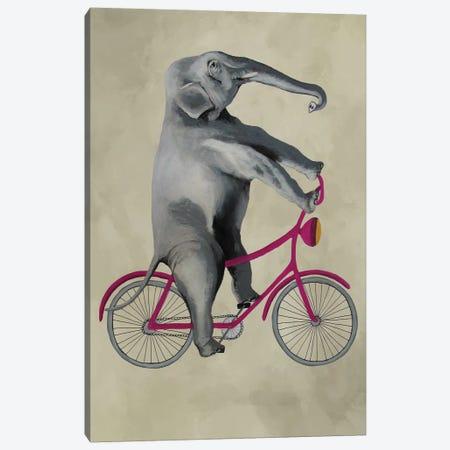 Elephant On Bicycle, Beige Canvas Print #COC201} by Coco de Paris Canvas Wall Art