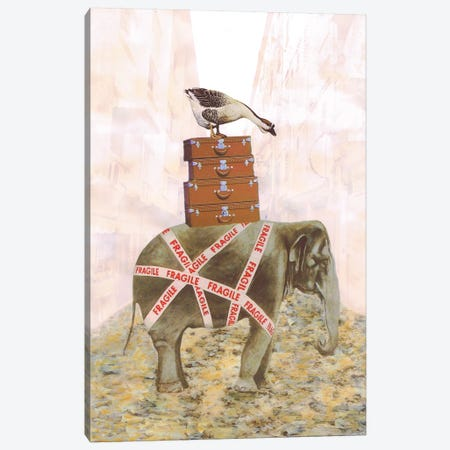 Elephant With Goose Canvas Print #COC202} by Coco de Paris Canvas Wall Art