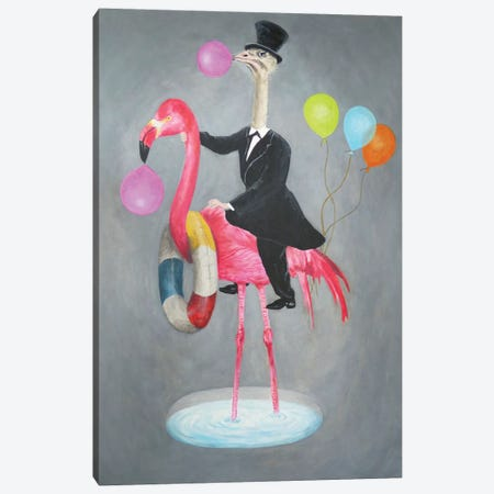 Flamingo With Ostrich Canvas Print #COC203} by Coco de Paris Canvas Wall Art