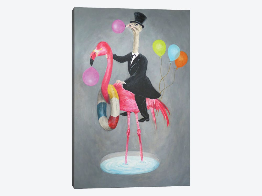 Flamingo With Ostrich 1-piece Canvas Print
