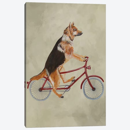 German Shepherd On Bicycle Canvas Print #COC205} by Coco de Paris Canvas Art Print