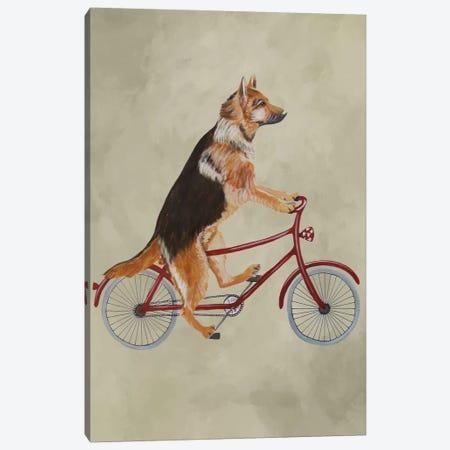 German Shepherd On Bicycle Canvas Print #COC205} by Coco de Paris Canvas Art Print