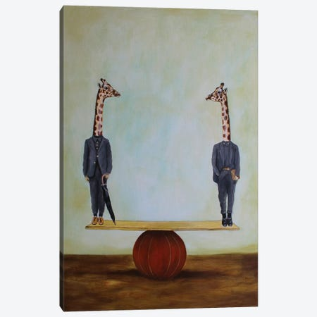 Giraffes In Balance Canvas Print #COC206} by Coco de paris Canvas Art Print