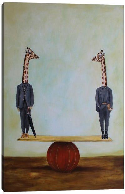 Giraffes In Balance Canvas Art Print