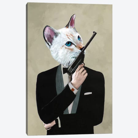 James Bond Cat Canvas Print #COC208} by Coco de paris Canvas Wall Art