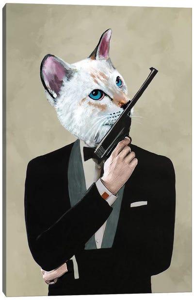 James Bond Cat Canvas Art Print