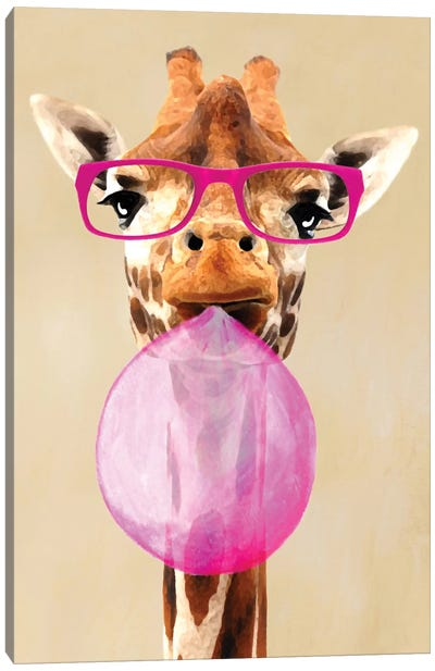 Clever Giraffe With Bubblegum Canvas Art Print