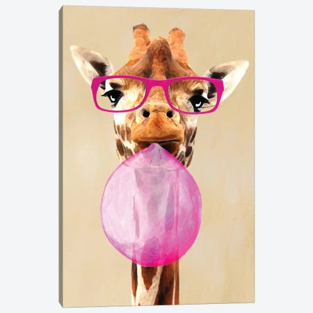 Clever Giraffe With Bubblegum Canvas Print #COC20} by Coco de Paris Canvas Wall Art