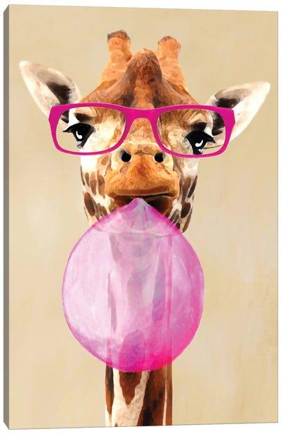 Clever Giraffe With Bubblegum Canvas Art Print