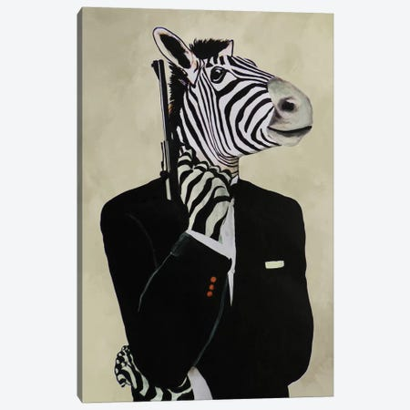 James Bond Zebra IV Canvas Print #COC211} by Coco de paris Art Print