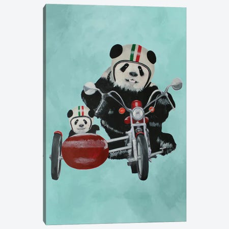 Pandas On Motorbike Canvas Print #COC222} by Coco de paris Canvas Wall Art