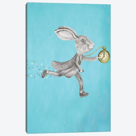 Rabbit Run Blue Canvas Print #COC226} by Coco de Paris Canvas Print