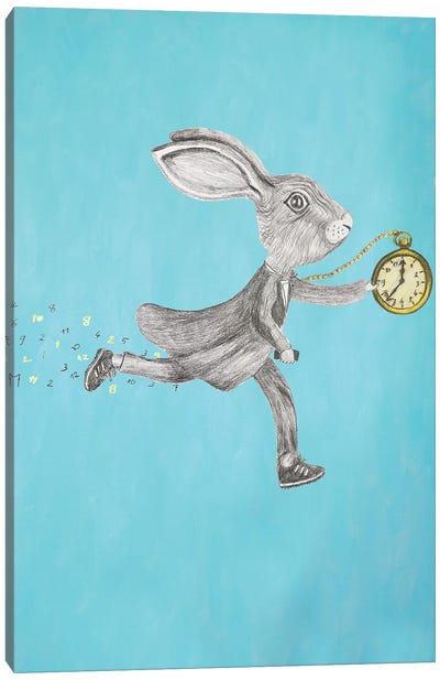 Rabbit Run Blue Canvas Art Print