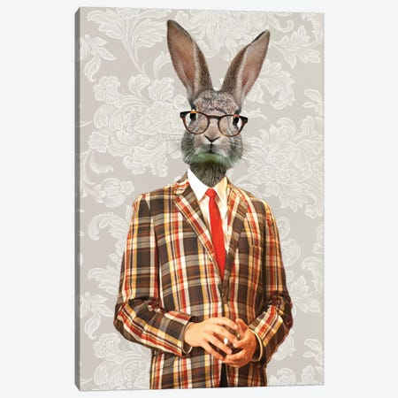 Rabbit Vintage Man II Canvas Print #COC227} by Coco de Paris Art Print