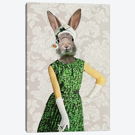 Rabbit Vintage Woman Canvas Print #COC228} by Coco de paris Canvas Art