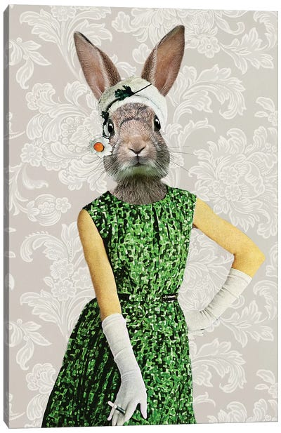 Rabbit Vintage Woman Canvas Art Print