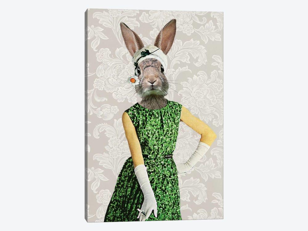 Rabbit Vintage Woman by Coco de Paris 1-piece Canvas Art