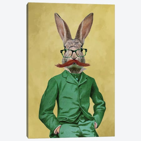Rabbit With Moustache Canvas Print #COC229} by Coco de Paris Canvas Artwork
