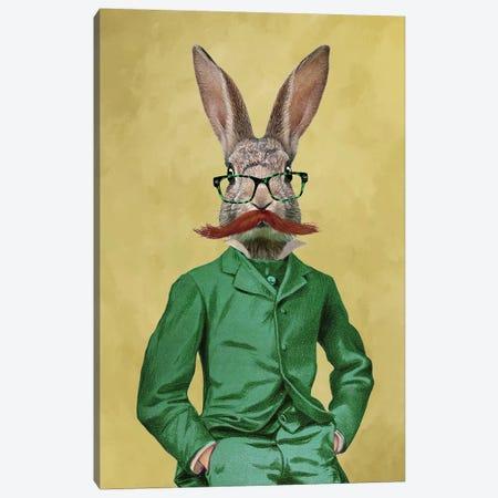 Rabbit With Moustache Canvas Print #COC229} by Coco de Paris Canvas Artwork