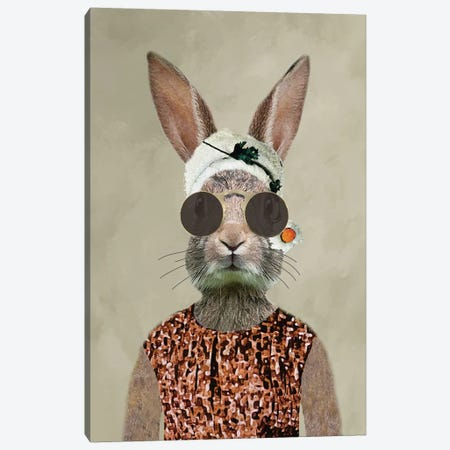 Rabbit Woman Vintage Canvas Print #COC230} by Coco de Paris Canvas Print
