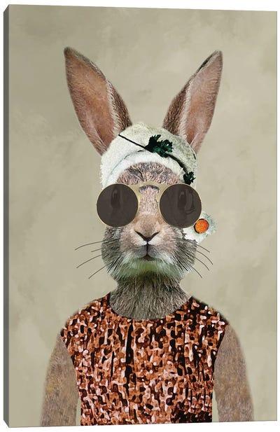Rabbit Woman Vintage Canvas Art Print