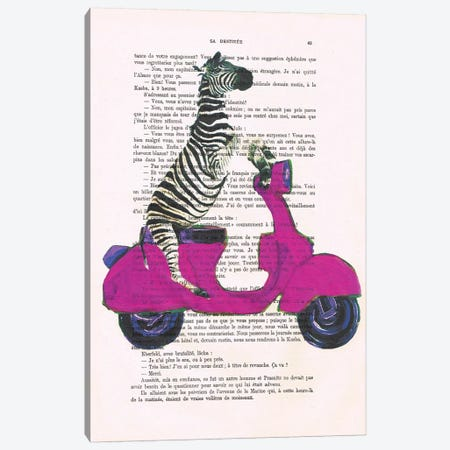 Zebra On Red Vespa Canvas Print #COC235} by Coco de Paris Canvas Wall Art