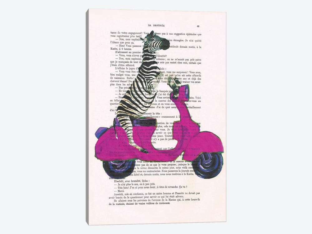 Zebra On Red Vespa by Coco de Paris 1-piece Canvas Wall Art