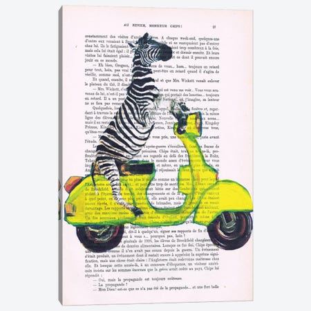 Zebra On Yellow Vespa Canvas Print #COC236} by Coco de Paris Canvas Art