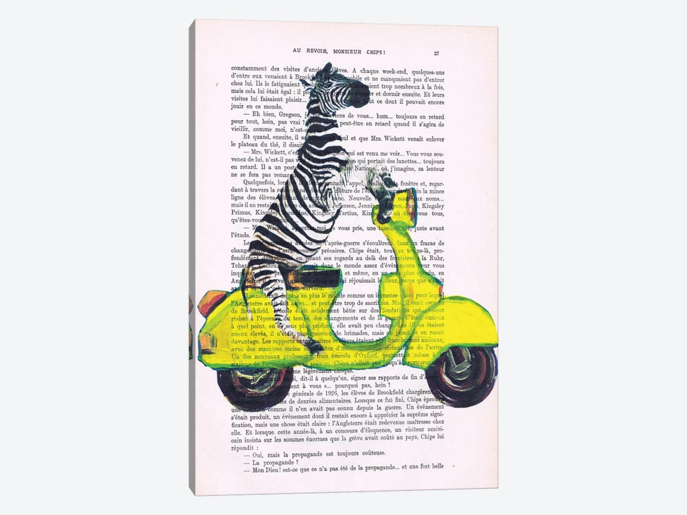Zebra On Yellow Vespa by Coco de paris 1-piece Canvas Art Print
