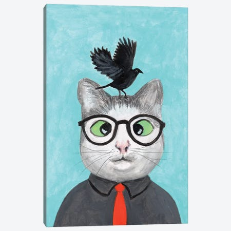 Cat With Crow Canvas Print #COC238} by Coco de Paris Canvas Print