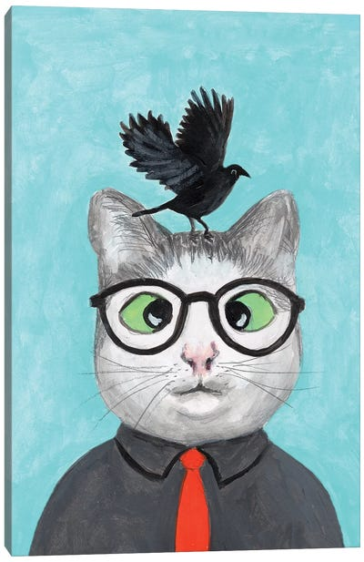 Cat With Crow Canvas Art Print