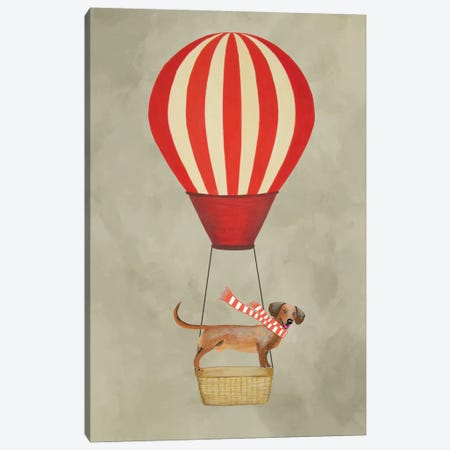 Dachshund With Air Balloon Canvas Print #COC23} by Coco de paris Canvas Artwork