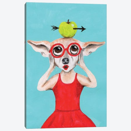 Chihuahua With Apple Canvas Print #COC240} by Coco de paris Canvas Wall Art