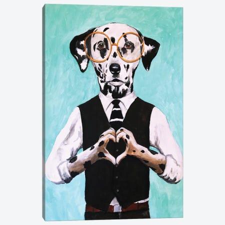 Dalmatian With Finger Heart Canvas Print #COC242} by Coco de Paris Canvas Artwork