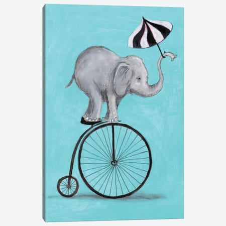 Elephant With Umbrella Canvas Print #COC243} by Coco de paris Canvas Wall Art