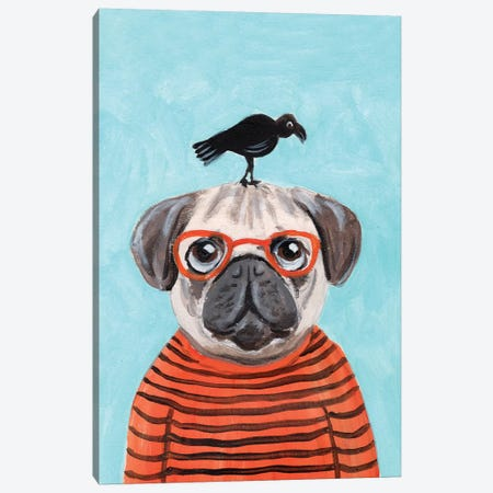 Pug With Crow Canvas Print #COC244} by Coco de Paris Canvas Art Print