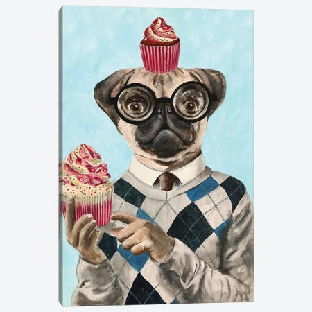 Pug With Cupcakes Canvas Print #COC245} by Coco de Paris Art Print