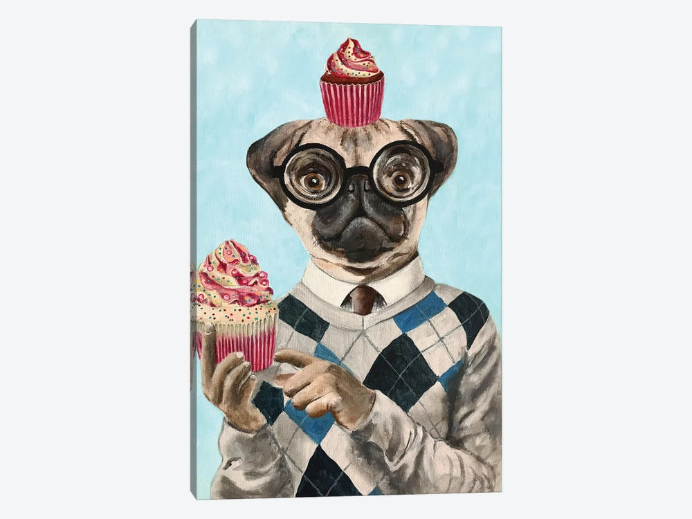 Pug With Cupcakes by Coco de Paris 1-piece Canvas Art Print