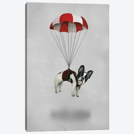 Bulldog With Parachute Canvas Print #COC247} by Coco de Paris Art Print