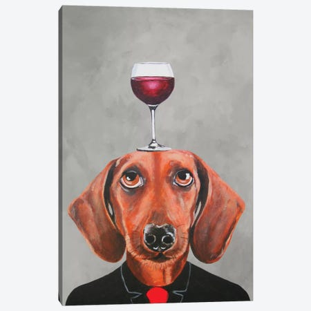 Dachshund With Wineglass Canvas Print #COC24} by Coco de paris Canvas Art Print