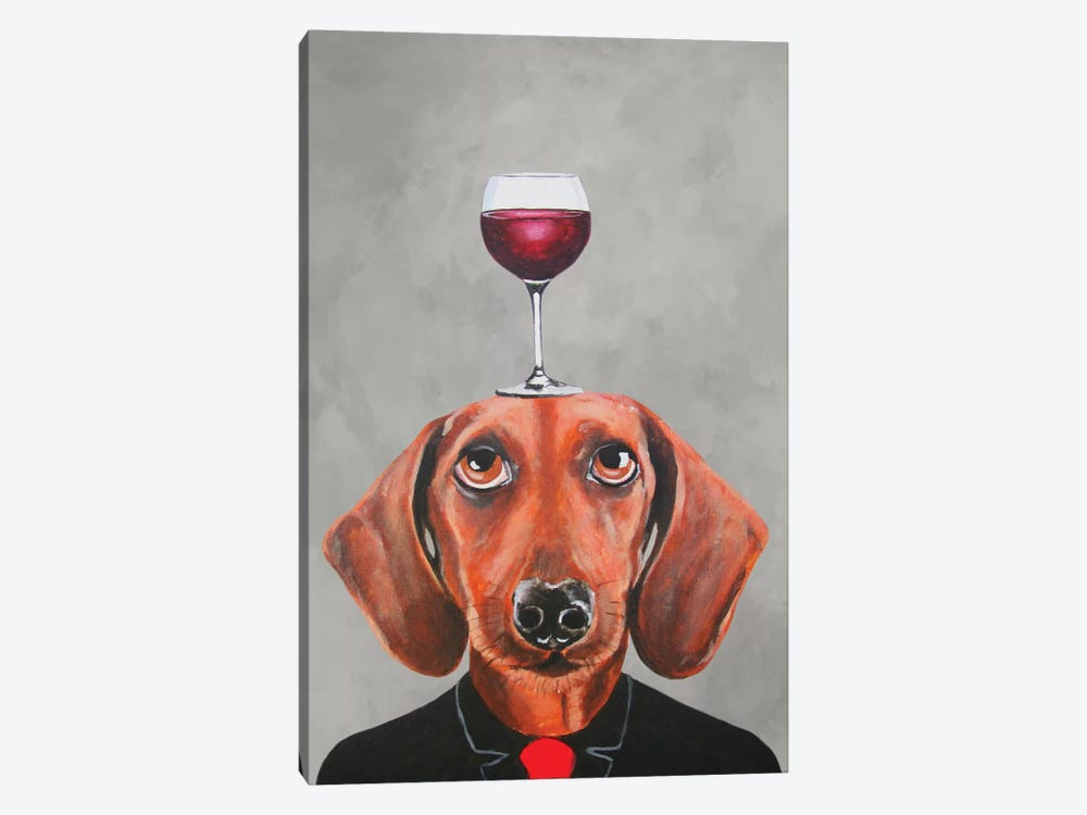 Dachshund With Wineglass by Coco de Paris 1-piece Canvas Wall Art