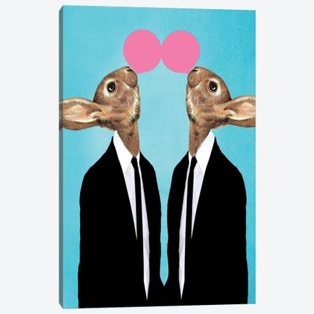 Rabbits With Bubblegum Canvas Print #COC258} by Coco de Paris Canvas Print