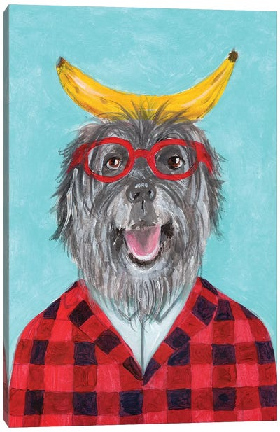 Sheperd Dog With Banana Canvas Art Print