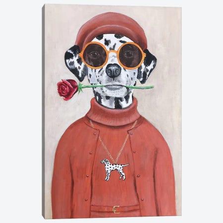 Dalmatian With Rose Canvas Print #COC262} by Coco de Paris Canvas Wall Art