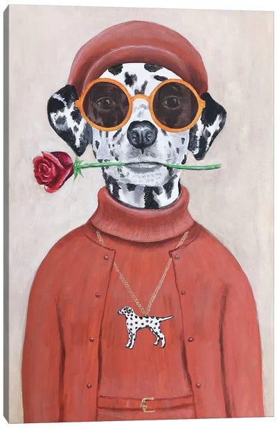 Dalmatian With Rose Canvas Art Print