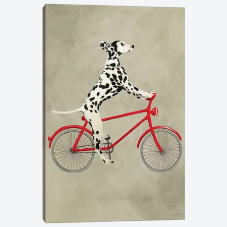Dalmatian On Bicycle Canvas Print #COC26} by Coco de paris Canvas Art Print