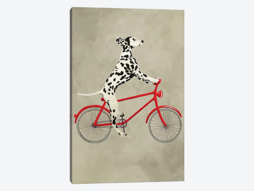 Dalmatian On Bicycle 1-piece Canvas Art