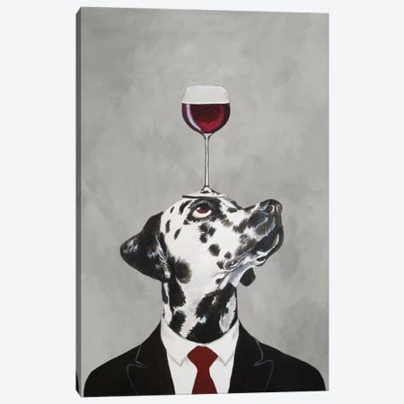 Dalmatian With Wineglass Canvas Print #COC27} by Coco de paris Art Print